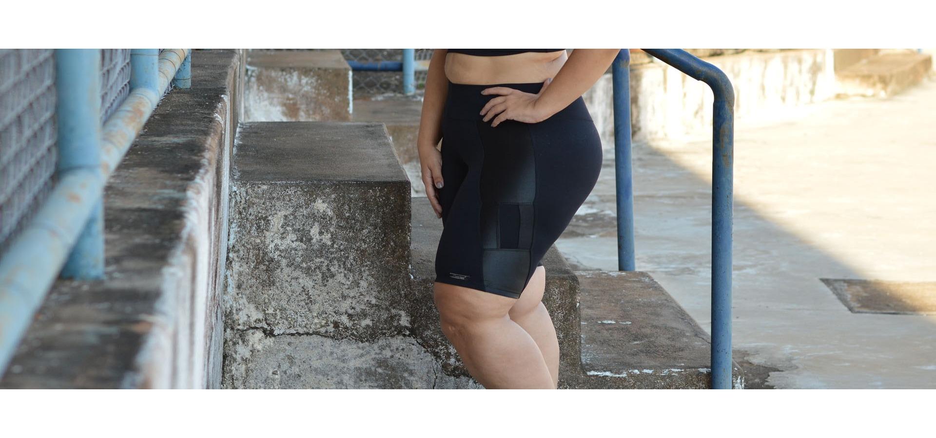Bermuda fitness com recorte plus size-Preto
