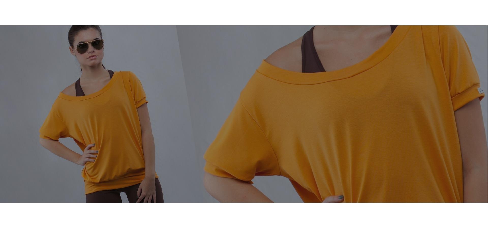 Blusa manga curta decote canoa-Mostarda