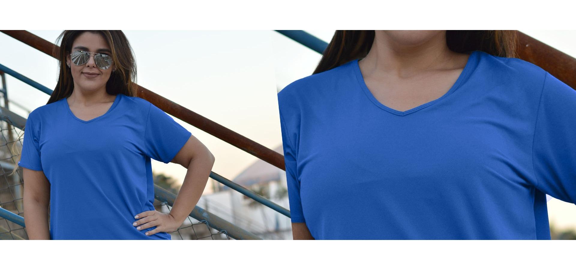 Blusa manga curta poliamida plus size-Azul