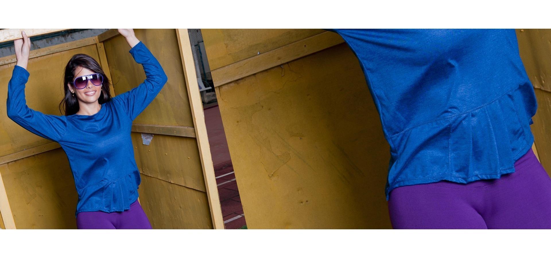 Blusa manga longa feminina-Azul