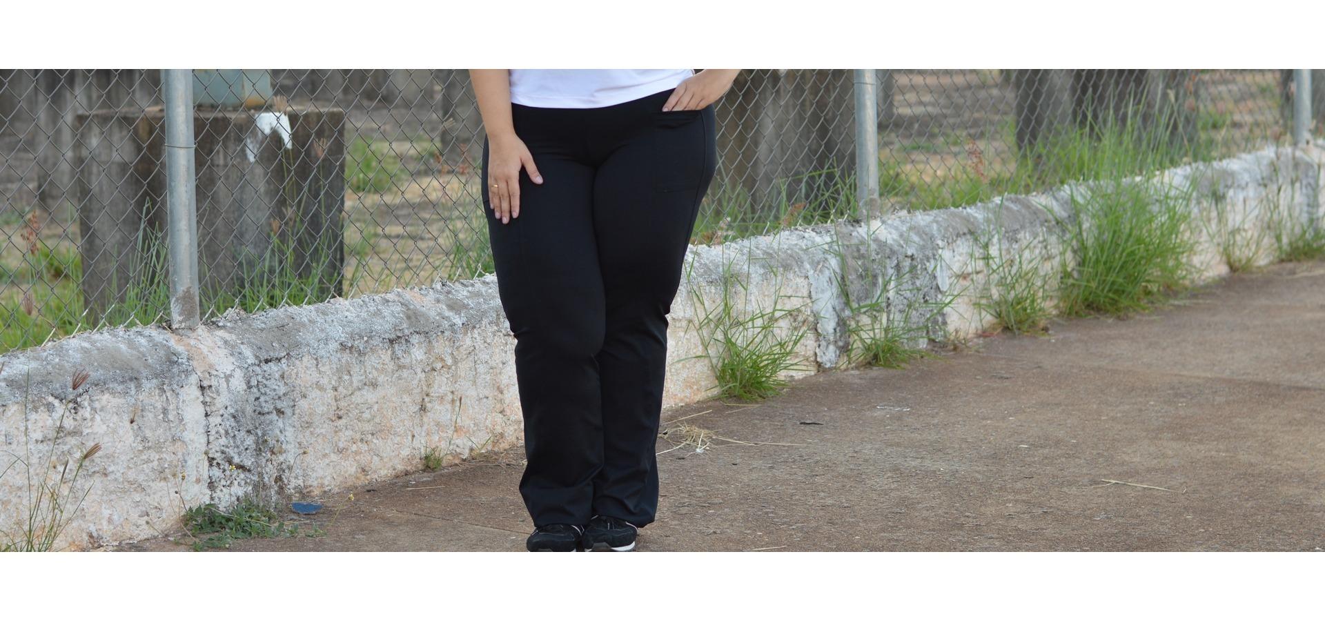 Calça Bailarina básica com bolso plus size-Preto