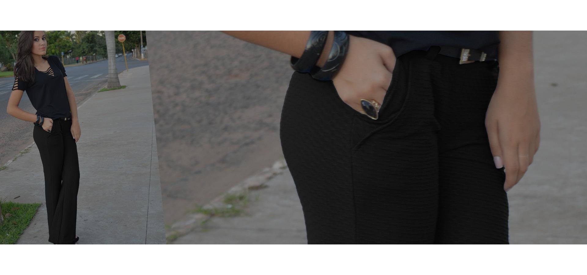 Calça flare com bolso jacquard-Preto