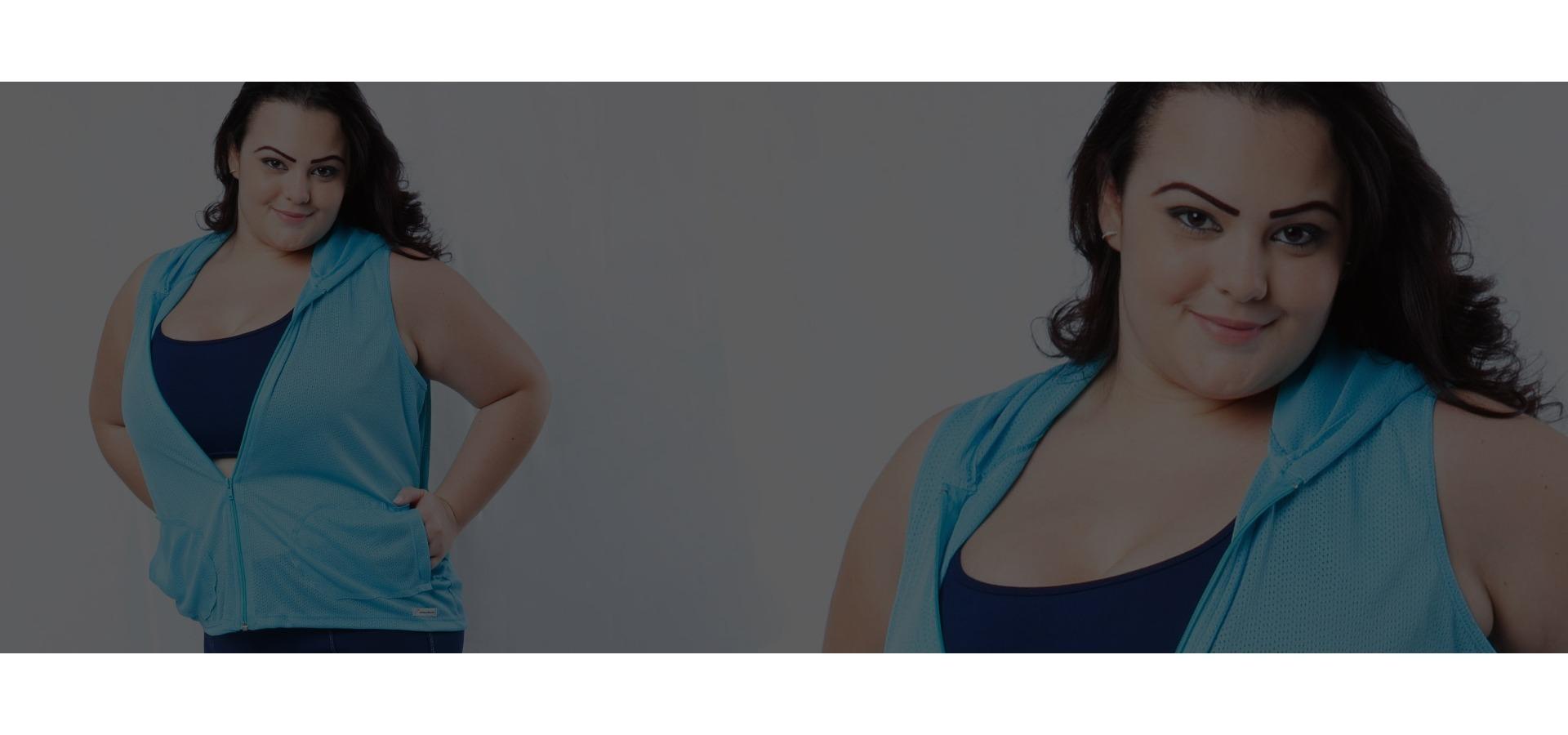 Jaqueta tela com capuz plus size-Azul
