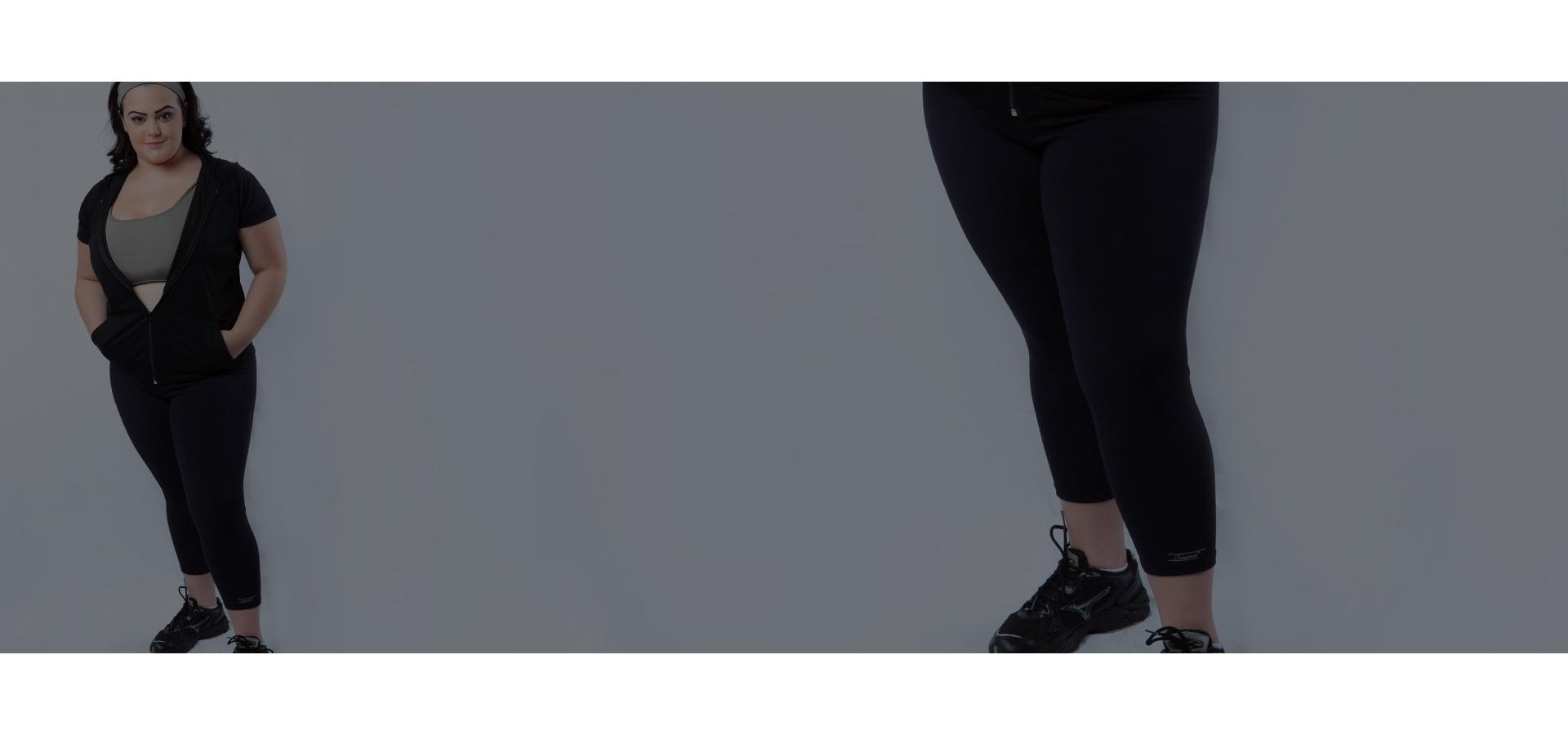 Legging academia básica plus size-Preto