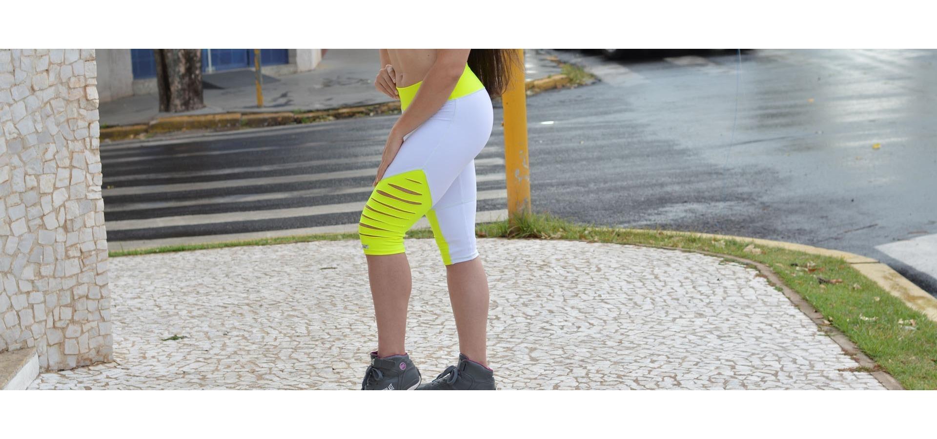 Legging fitness com detalhe cortado-Branco