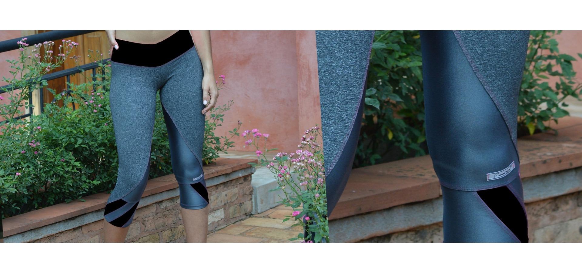 Legging fitness detalhe colorido-Cinza/Preto