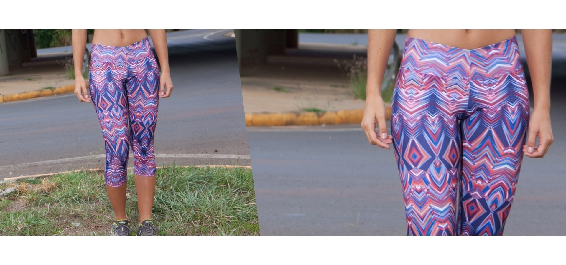 Legging fitness estampa geométrica-Azul/Vermelho