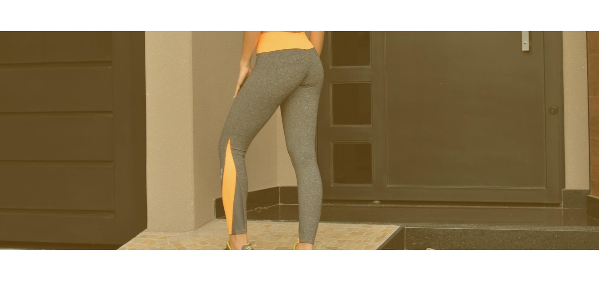 Legging fitness poliamida com recortes-Cinza