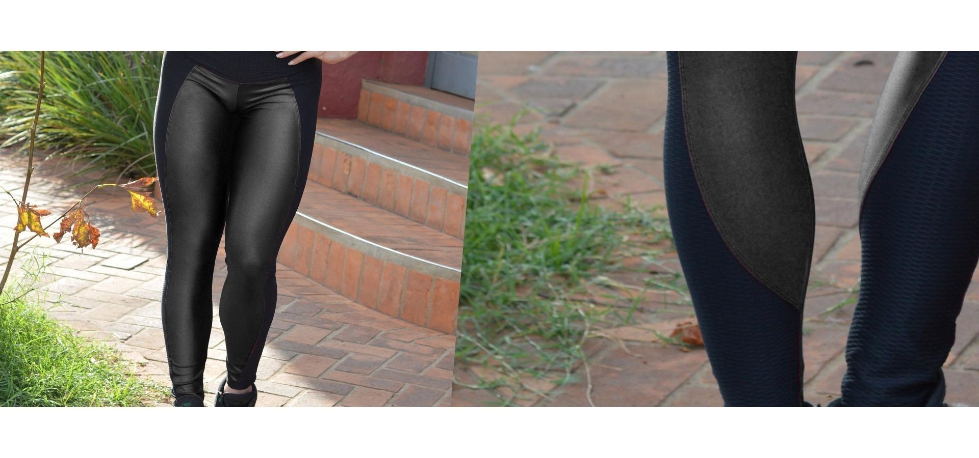 Legging longa brilho com recortes-Preto