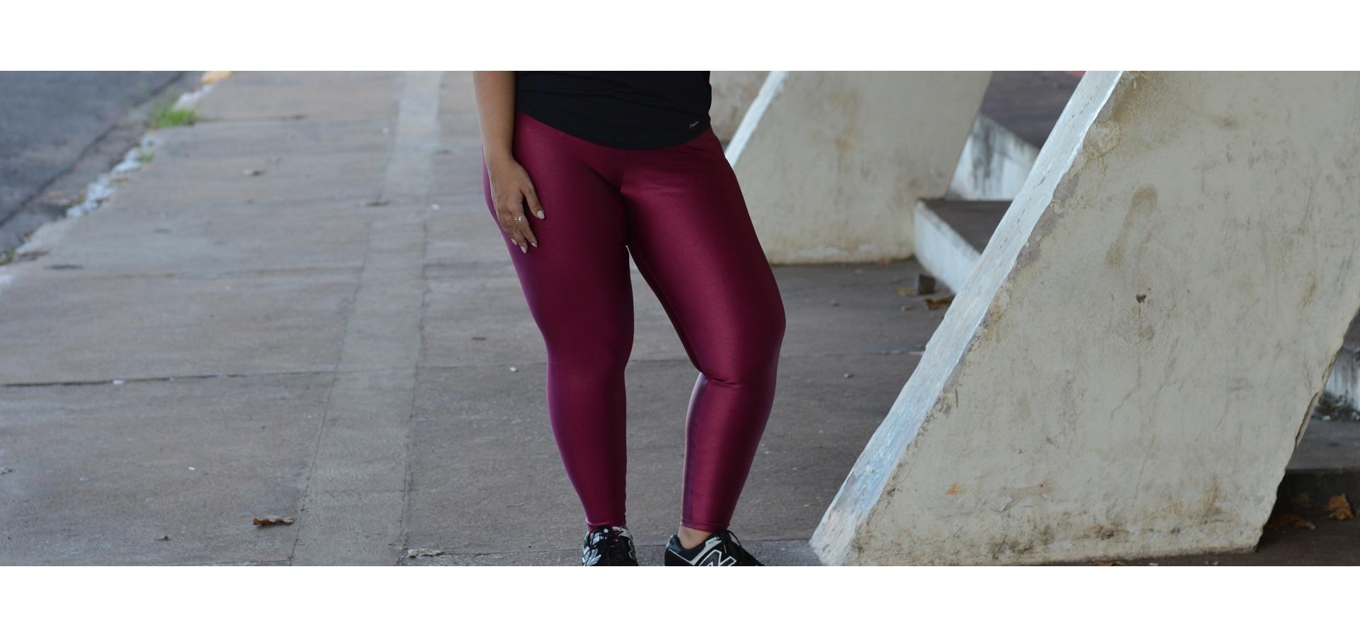 Legging longa brilho Plus size-Marsala