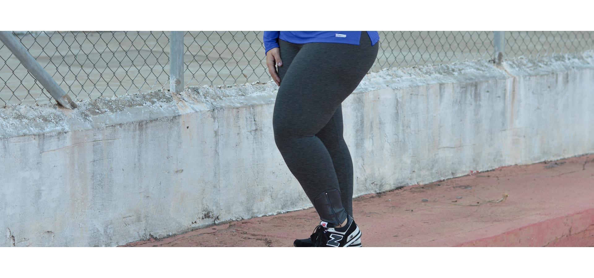 Legging longa com zíper plus size-Cinza