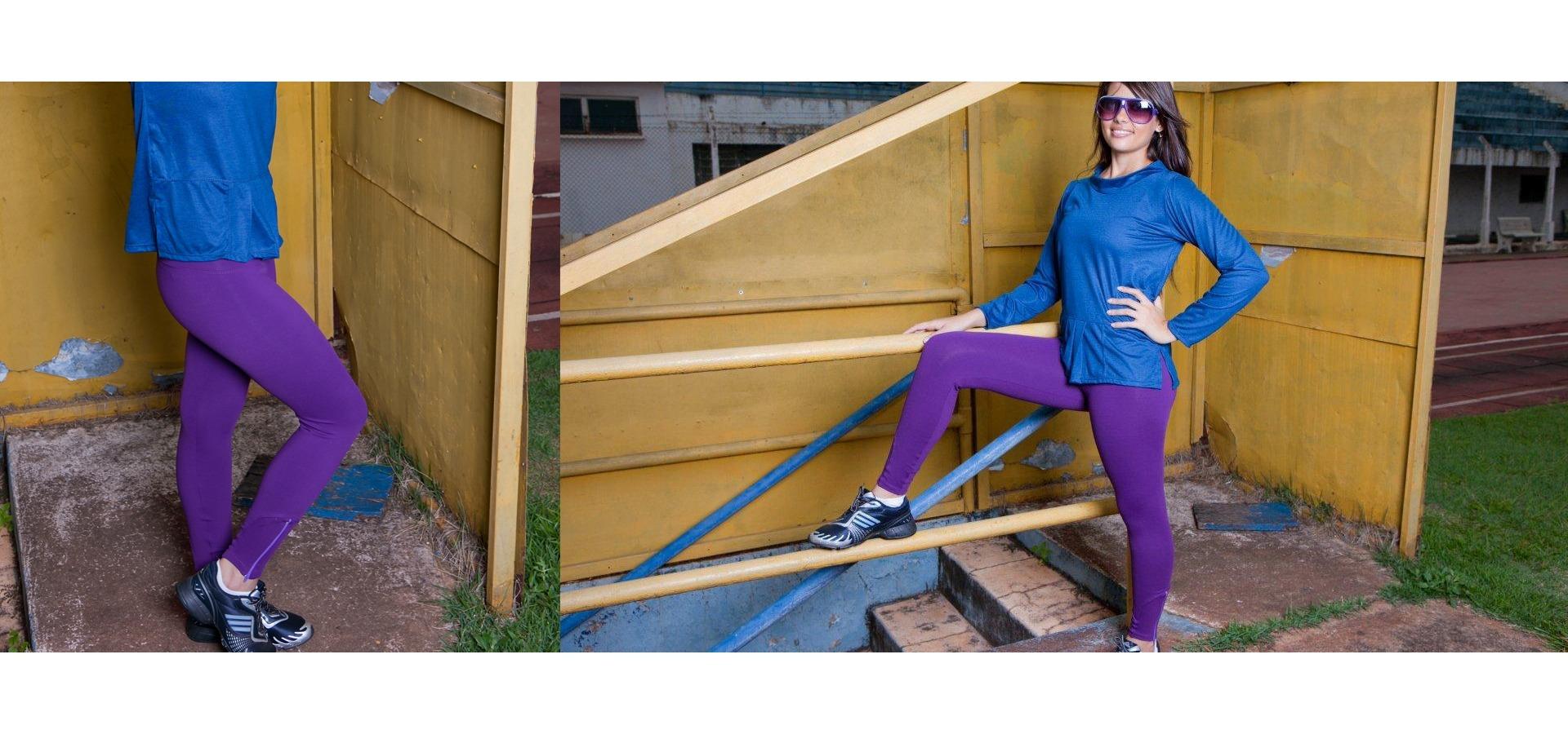 Legging longa com zíper-Roxo