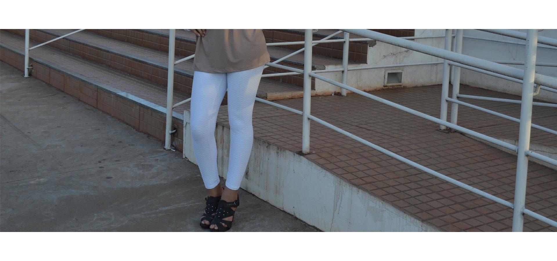 Legging longa jacquard-Branco