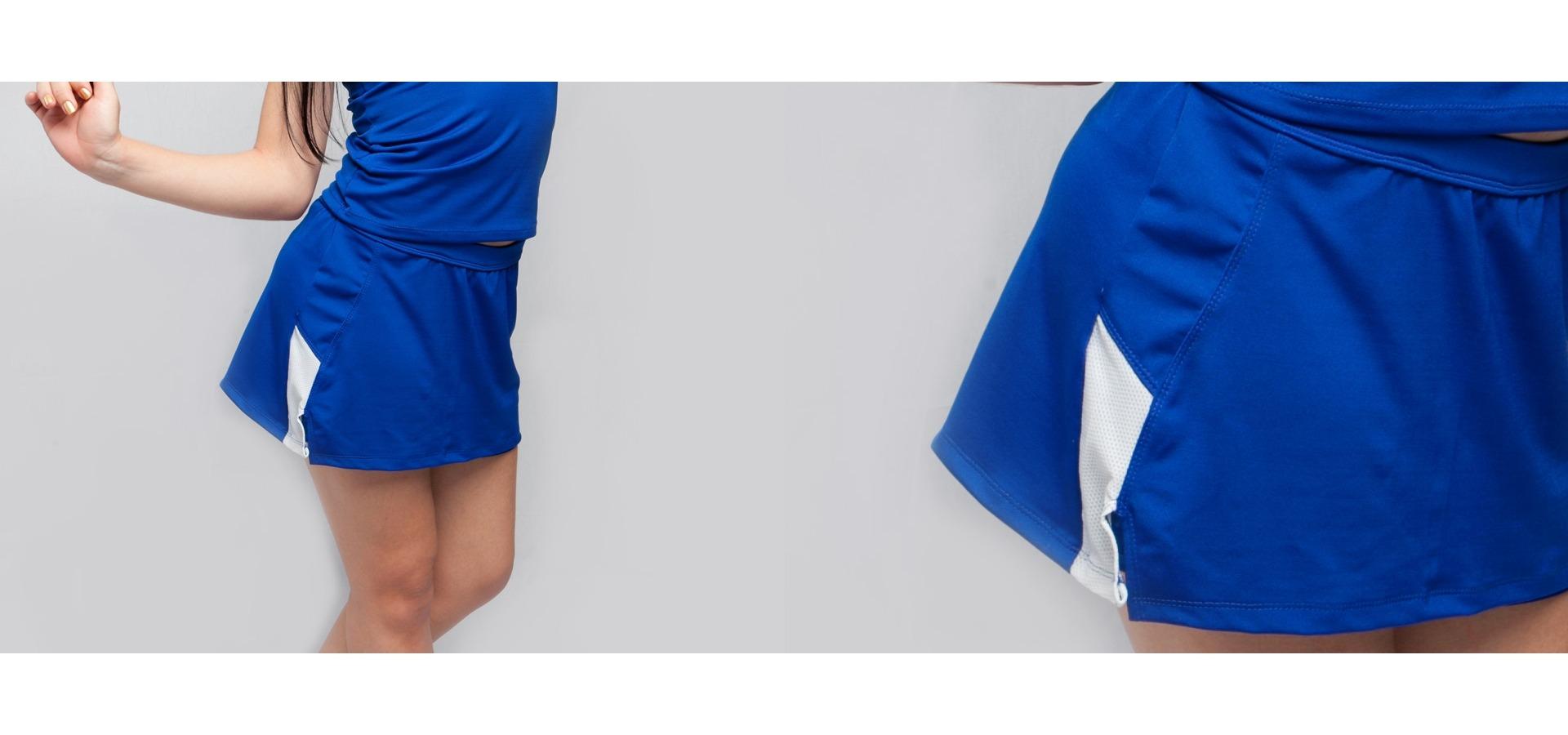 Saia short fitness com recortes em tela-Azul