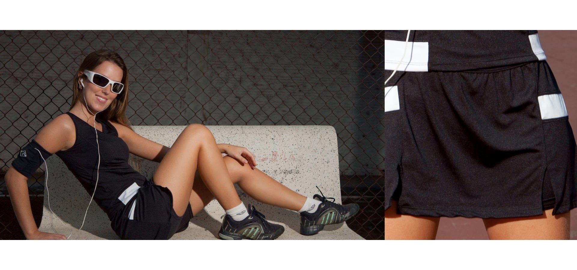 Saia short fitness com recortes-Preto