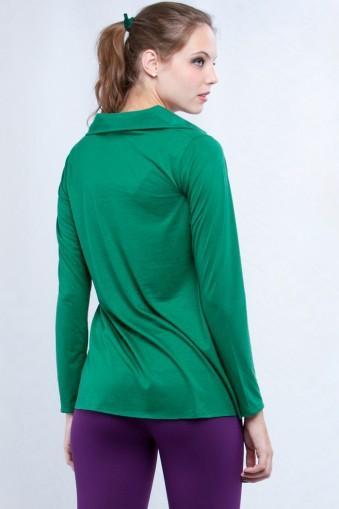 Bata manga longa com gola-Verde