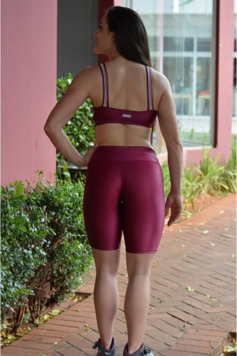 Bermuda fitness brilho-Marsala