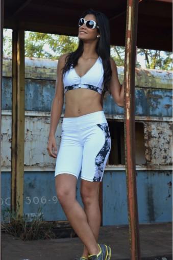 Bermuda fitness recorte estampa-Branco