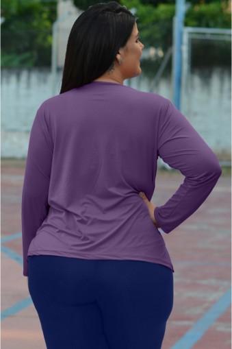 Blusa básica manga longa poliamida plus size-Roxo