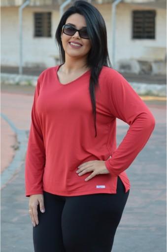 Blusa básica manga longa poliamida plus size-Vermelho