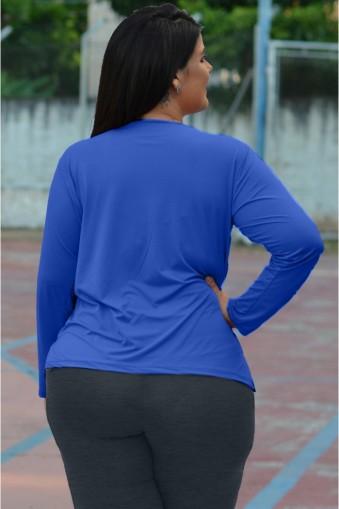 Blusa básica manga longa poliamida plus size-Azul