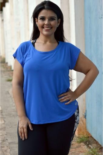 Blusa básica poliamida com aba plus size-Azul