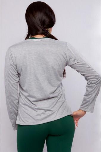 Blusa manga longa básica-Cinza