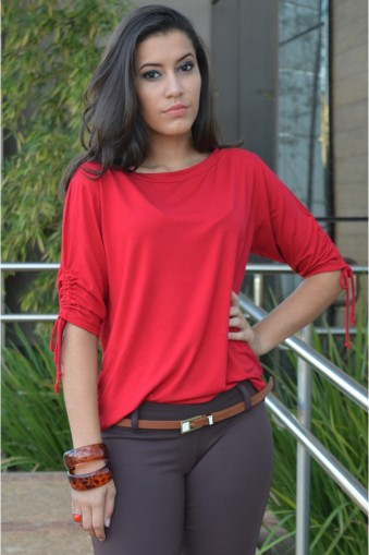 Blusa manga curta com laçinho-Vermelho