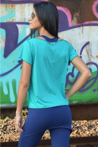 Blusa manga curta detalhe cortado-Azul piscina