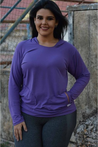 Blusa manga longa com capuz poliamida plus size-Roxo