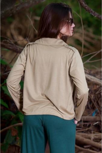 Blusa manga longa com gola e botões-Caqui