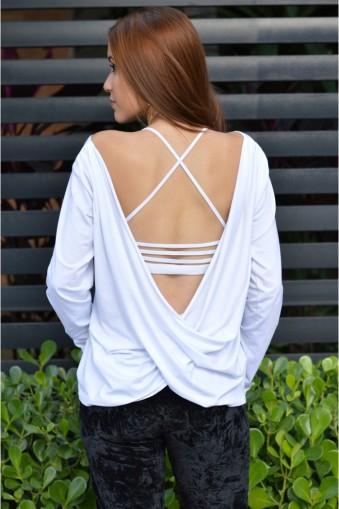 Blusa manga longa decote torcido-Branco