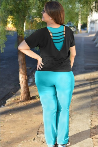 Calça Bailarina básica plus size-Azul