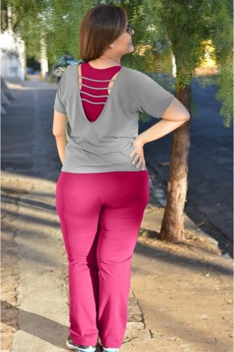 Calça Bailarina básica plus size-Pink