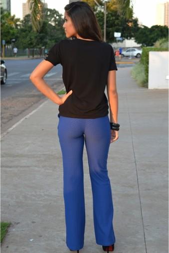 Calça flare jacquard-Azul