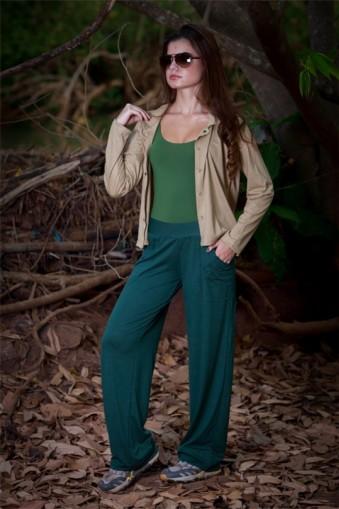 Calça larga com bolso-Verde