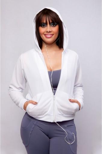 Jaqueta capuz manga longa-Branco