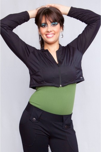 Jaqueta curta manga longa com bolso-Preto