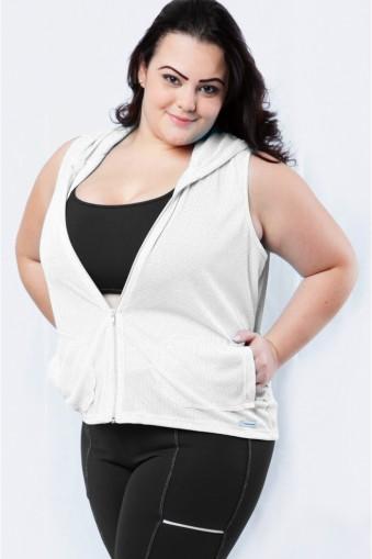 Jaqueta tela com capuz plus size-Branca