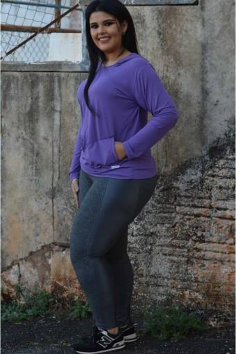 Legging com recortes brilho plus size-Cinza