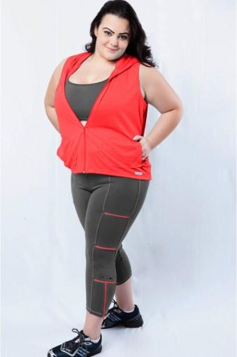 Legging fitness com zíper plus size-Cinza