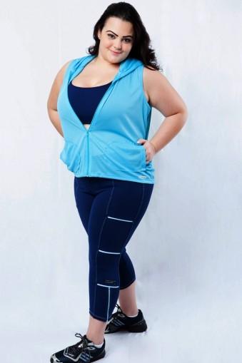 Legging fitness com zíper plus size-Marinho