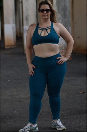 Legging fitness longa plus size-Azul petróleo