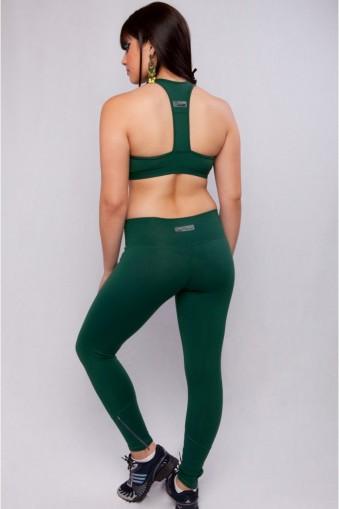 Legging longa academia com zíper-Verde
