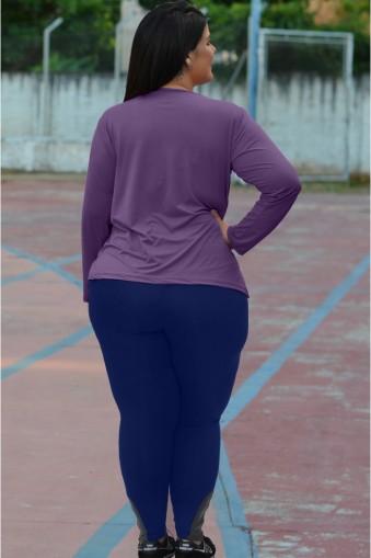 Legging longa com zíper plus size-Marinho