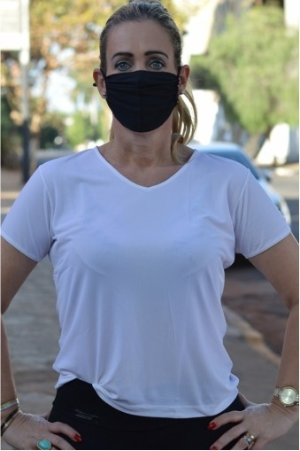 Máscara Adulto em Poliamida Lavável  dupla proteção-preto