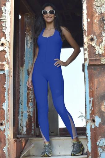 Macacão fitness jacquard com tule-Azul