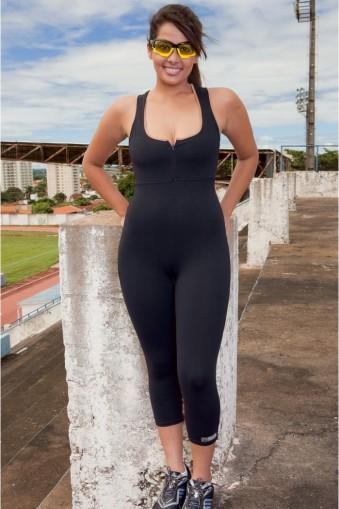 Macacão fitness nadador com abertura-Preto