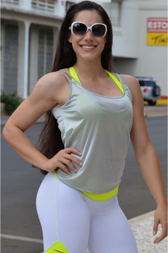 Regata fitness alça em tirinha-Prata