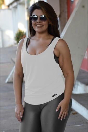 Regata fitness detalhe brilho Plus size-Branco